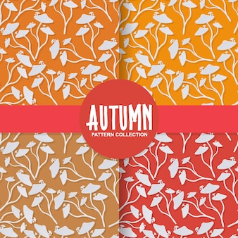 Trendy paper cut style autumn wild mushroom on colorful background pattern