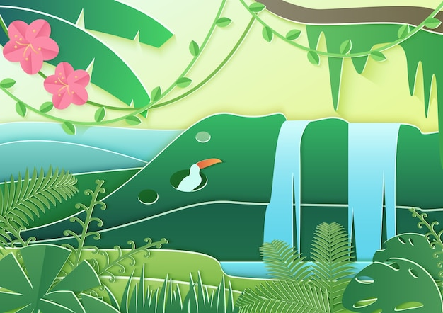 Trendy paper cuted style forest world. concept of tropical rain forest jungle with birds and waterfall.