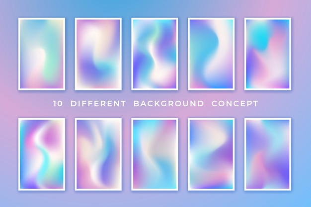 Trendy pastel holographic background collection with different concept.