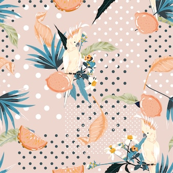 Trendy pastel summer exotic tropical and lemon fruits with macaw bird on polka dots seamless pattern