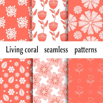 Trendy pattern with living coral floristic patterns. living coral color