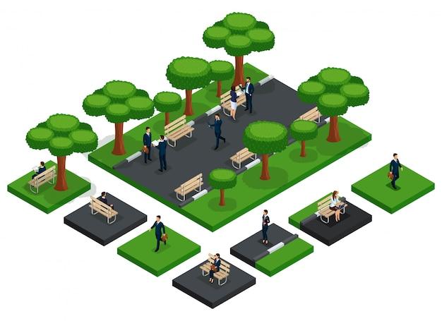 トレンディな人々等尺性ベクタービジネスマンとあなた自身の都市公園のベンチ、新鮮な空気、分離されたビジネスコミュニケーションを作成するビジネス女性要素