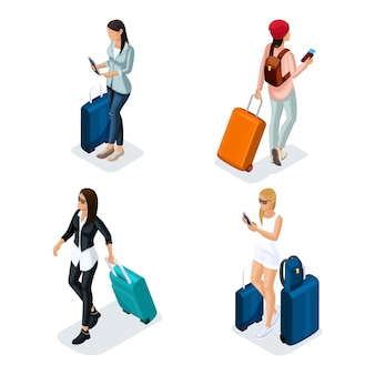 Trendy people isometric vector teenager, a young girl in a leather jacket, leather pants, stylish clothes, cool girl, traveler, vacation, airport, baggage, phone internet social networks