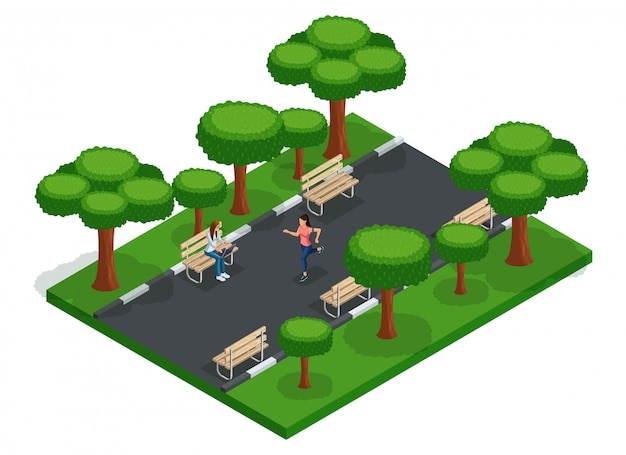 Trendy people isometric vector teenagers, young people, students, freelancers, running, city park benches, work outdoors