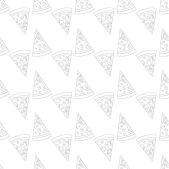 손으로 그린 피자 조각으로 트렌디한 피자 패턴입니다. 귀여운 벡터 흑백 피자 패턴입니다. 원활한 흑백 피자 패턴입니다.