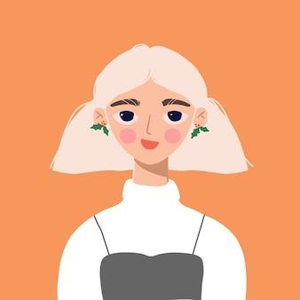 ポインセチアのイヤリングを持つお祭りの女の子のトレンディな肖像画。