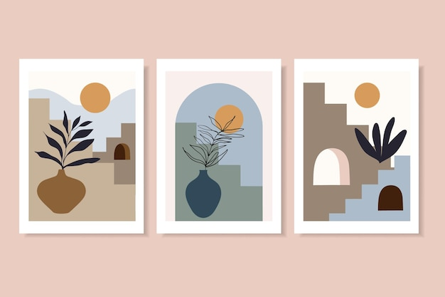 계단과 꽃병 현대적인 디자인으로 유행 포스터 벽 예술