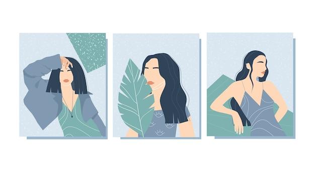 女性とのトレンディなポスター。現代美術。様式化された女性の形