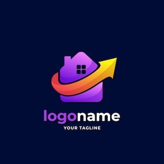 Trendy price house logo gradient style with arrow up