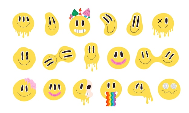 Trendy psychedelic distorted smiley faces with rainbow. crazy smiling groovy emoji. trippy acid melting graffiti smile stickers vector set. yellow characters with hypnotic eyes, mushrooms