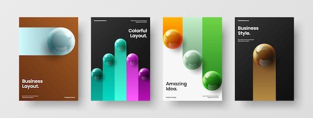 Набор иллюстраций корпоративной брошюры модных реалистичных сфер
