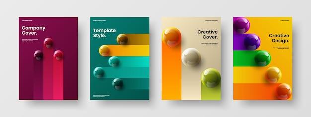 Trendy realistic spheres cover concept bundle
