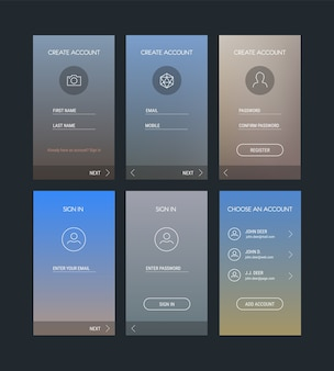 Trendy responsive mobile ui templates of login and registration mobile app template