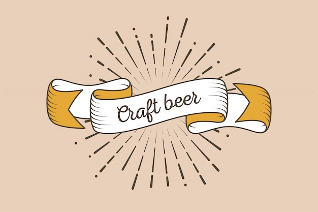 Trendy retro ribbon with text craft beer and light rays