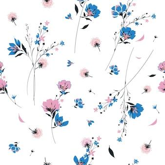 Trendy  retro wild flower pattern vector