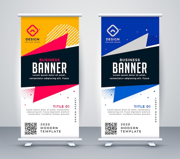 Trendy roll up standee banner design template