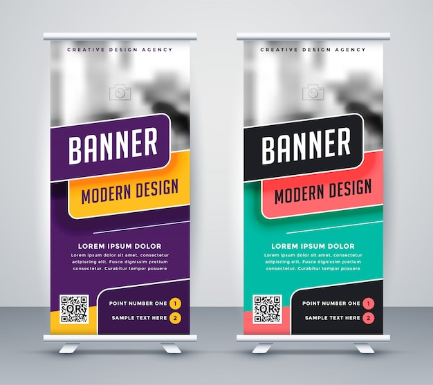 Trendy rollup creative banner design template