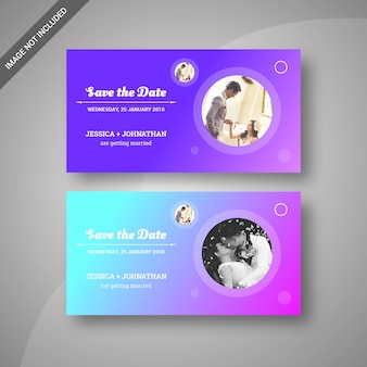 Trendy save the date wedding banners & invitation