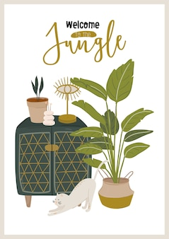 Trendy scandinavian urban greenery at home. cozy home garden furnished in hygge style.