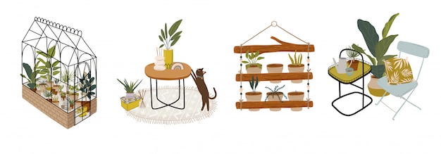 Trendy scandinavian urban greenery at home jungle interior with home decorations. cozy home garden furnished in hygge style. crazy plant lady illustration.