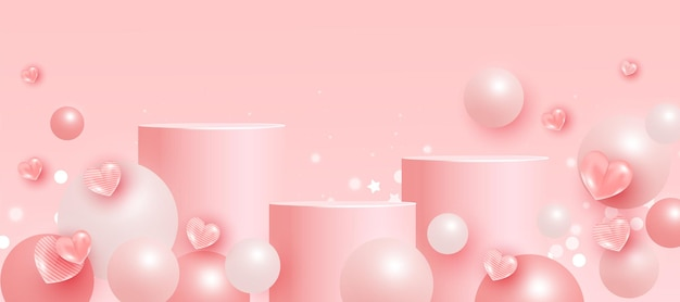Trendy scene with podium or platform, flying ball geometric shapes and love elements on pink background. minimal scene with geometrical forms for product presentation.