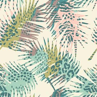 Модный бесшовный экзотический рисунок с пальмами и животными