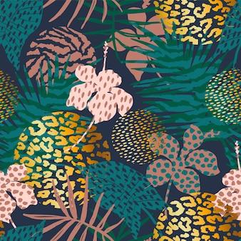 Модный бесшовный экзотический узор с пальмовыми и животными отпечатками.