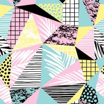 Модный бесшовный экзотический узор с ладонь и геометрические элементы.
