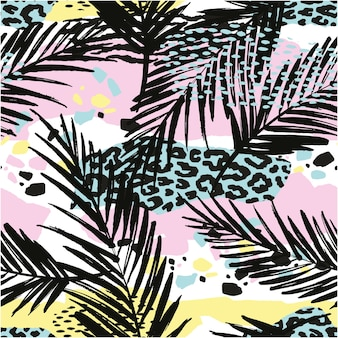 Trendy seamless exotic pattern with palm, animal prins and hand drawn textures.