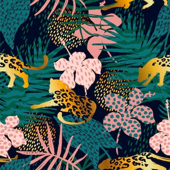 Trendy seamless exotic pattern with palm and leopards