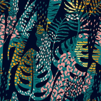 Trendy seamless exotic pattern with tropical plants, animal prints and hand drawn textures.