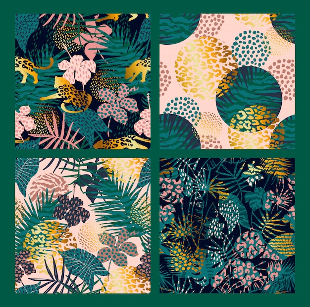 Trendy seamless exotic patterns with palm, animal prints and hand drawn textures