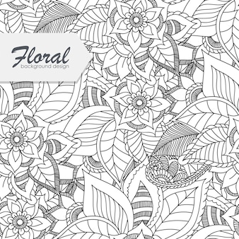 Trendy seamless floral pattern in doodle style