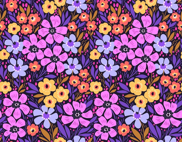 トレンディなシームレス花柄。シームレスプリント。夏と春のモチーフ。カラフルな背景