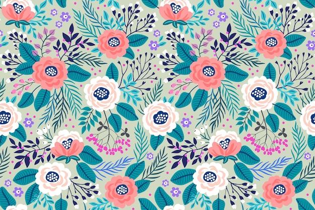 トレンディなシームレス花柄。シームレスプリント。夏と春のモチーフ。灰色の背景。