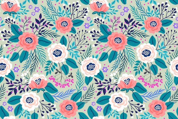 Trendy seamless  floral pattern. seamless print. summer and spring motifs. gray background.
