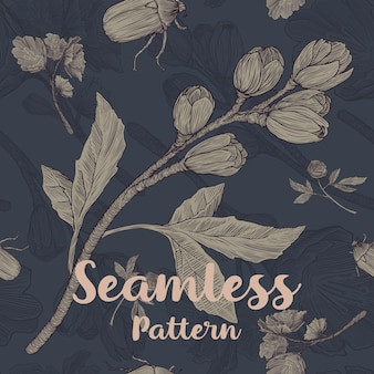 Trendy seamless floral pattern with buds, leaves and bugs