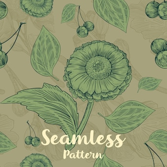 Trendy seamless floral pattern with flowers, leaves and cherry's