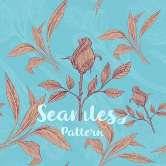 Trendy seamless floral pattern with roses and leaves vector illustration