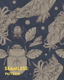 Модный бесшовный цветочный узор со скарабеями, листьями и кристаллами. векторная иллюстрация