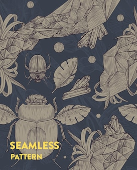 Trendy seamless floral pattern with scarabs, leaves and crystals. vector illustration