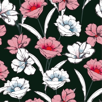 Trendy seamless pattern hand drawn sketch blooming flowers in the garden floral repeat