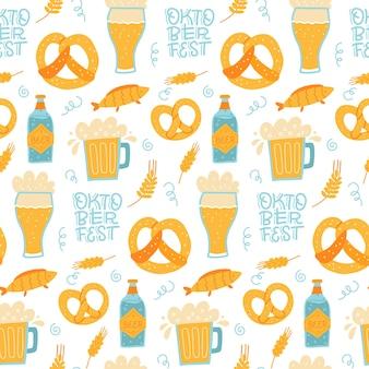 Trendy seamless pattern of oktoberfest lettering pretzels and beer mugs flat hand drawn illustration