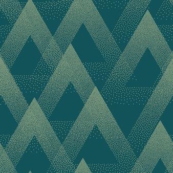 トレンディなシームレスパターン点描三角形テクスチャターコイズ抽象的な背景
