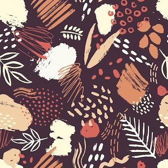 Модный бесшовный образец с абстрактными красочными пятнами краски