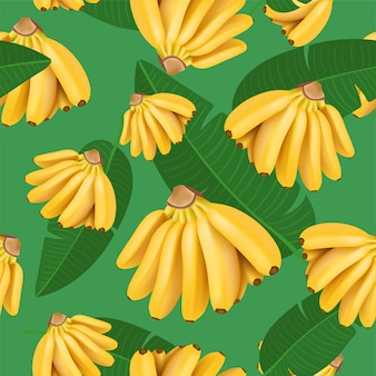 Trendy seamless pattern with baby banana bunch and tropical leaves vector realistic illustration