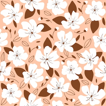 Trendy seamless pattern with beige flowers.