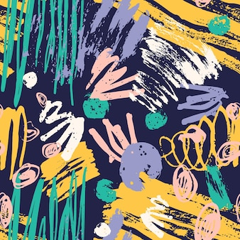 Trendy seamless pattern with colorful paint traces, brush strokes, scribble on dark background