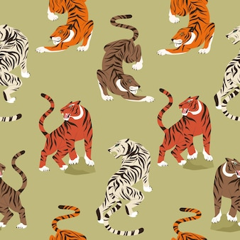 Trendy seamless pattern with colourful tiger in asian style. modern animal background. abstract hunting tiger. chineese 2022 year sign. year of the tiger 2022 japanese new year card.