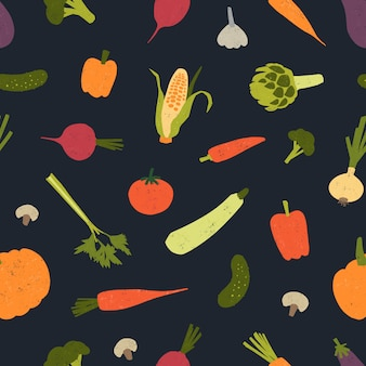 Trendy seamless pattern with delicious vegetables or harvested crops scattered.